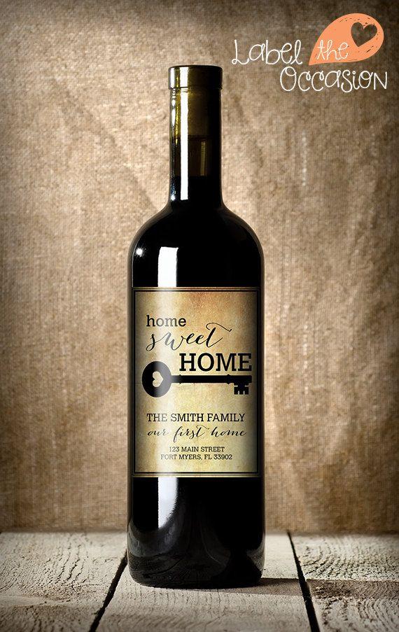 5293b3f87b2 Housewarming Gift -New Home Wine Label - Custom Wine Label - Personalized  Housewarming Gift - Housewarming Gift Basket