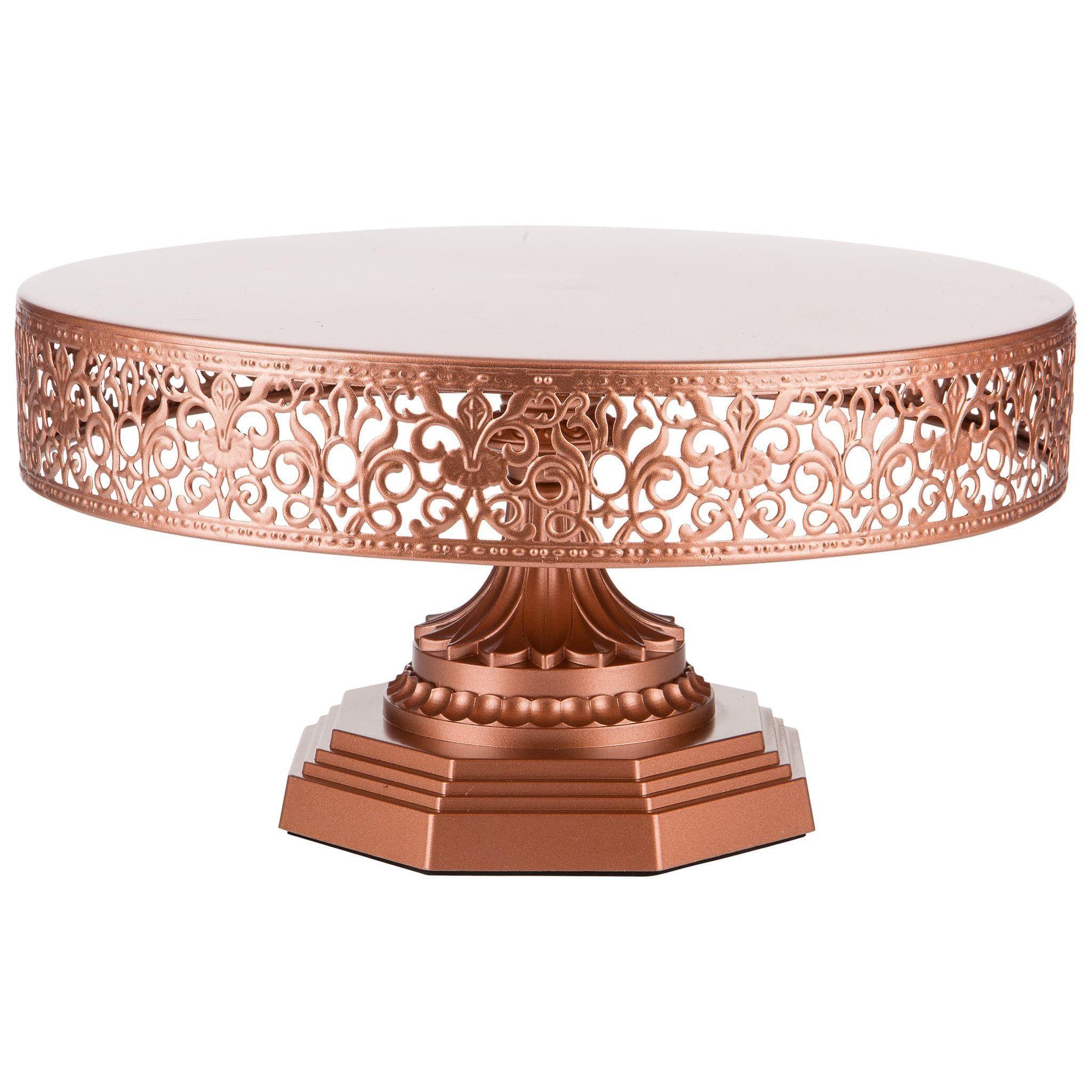 12 inch round metal wedding cake stand rose gold rose