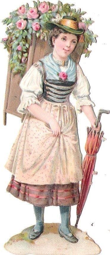 Oblaten Glanzbild scrap die cut chromo Kind child 11cm Lady Dame Schirm umbrella