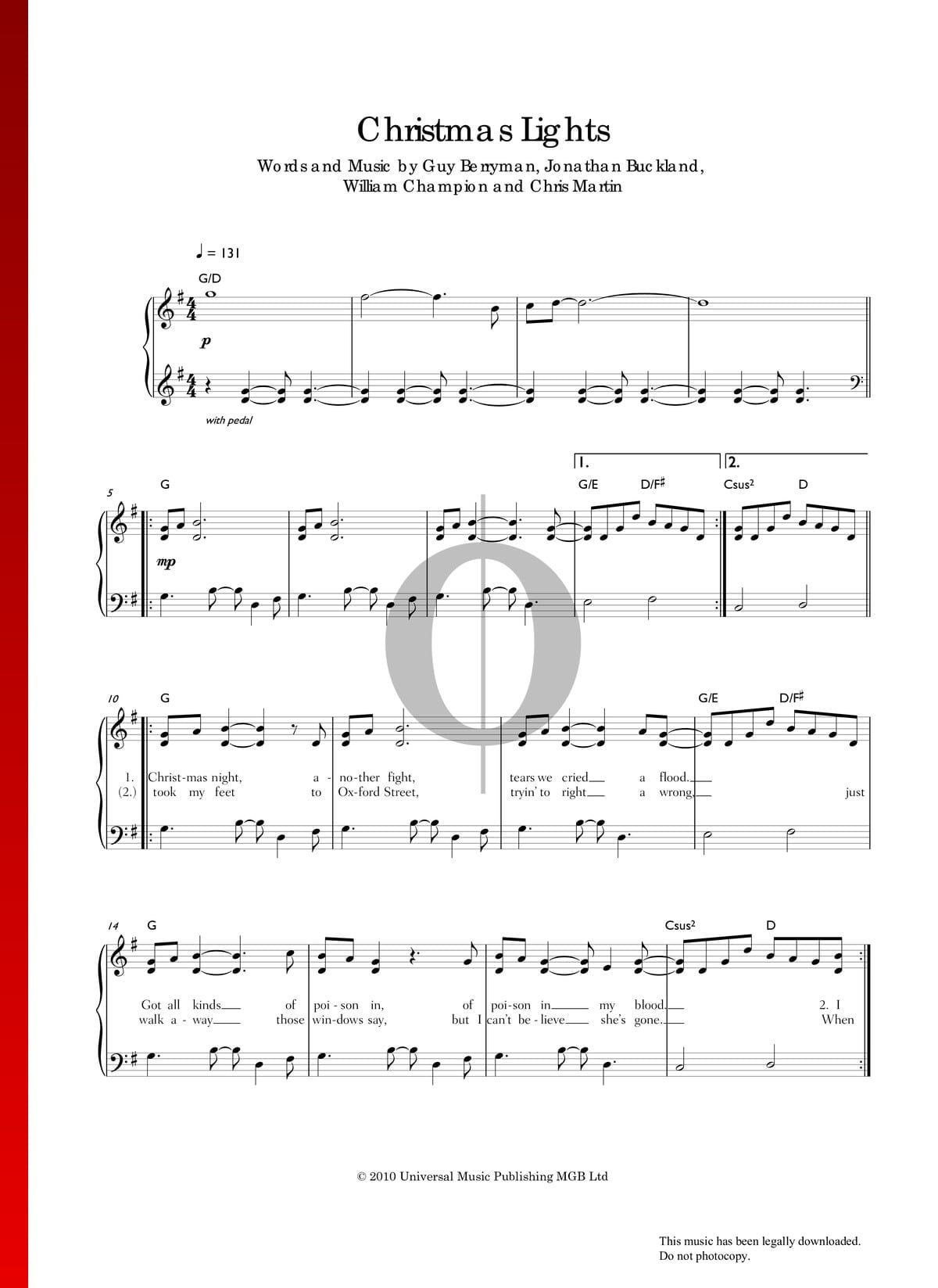 Christmas Lights by Coldplay Piano Sheet Music