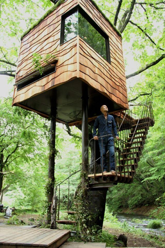 Bauen Holz Konstruktion Fenster Treppe Holzwand | Casa Sull'albero ... Modernes Baumhaus Pool Futuristisches Konzept