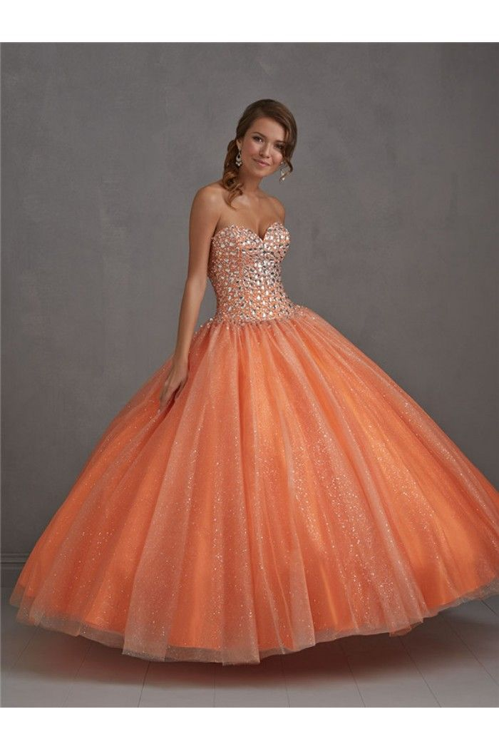 Ball Gown Strapless Sweetheart Drop Waist Orange Tulle Sparkly ...