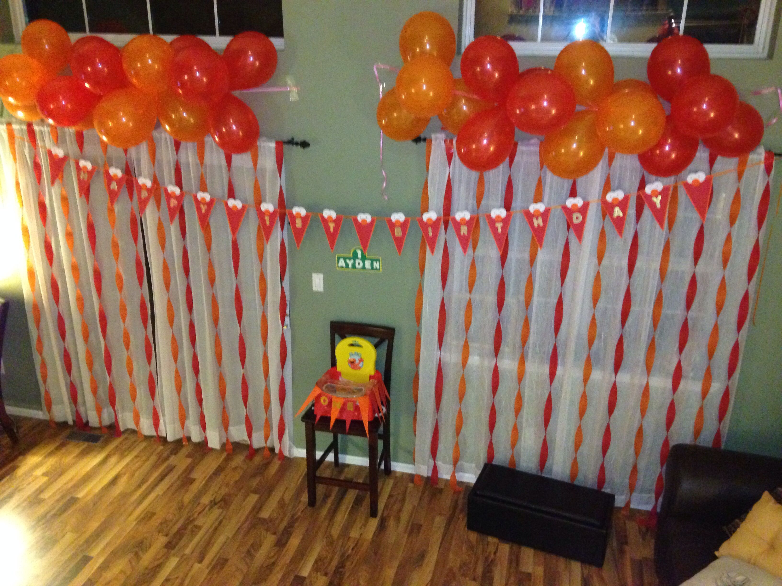 Elmo birthday party balloons child first birthday decorations DIY