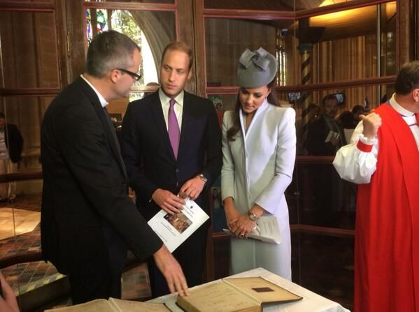 Prince William and Catherine, Duchess of Cambridge, aka Kate Middleton, attending Easter Sunday services at St. Andrews Cathedral in Sydney, Australia. She is wearing a dove grey ensemble from Alexander McQueen, a bespoke hat by Jane Taylor Millinery, Alexander McQueen clutch, and Harper pumps by LK Bennett. 4/20/14