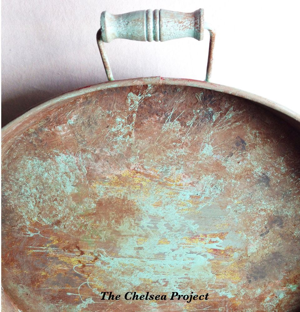 Thrift Tray Makeover to a Faux Rust and Aqua Finish