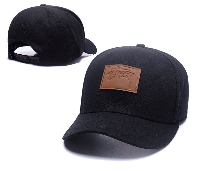 Men s   Women s Stussy Square Stock Logo Leather Patch Curved Dad Hat -  Black   Brown 3b9fed0d335b