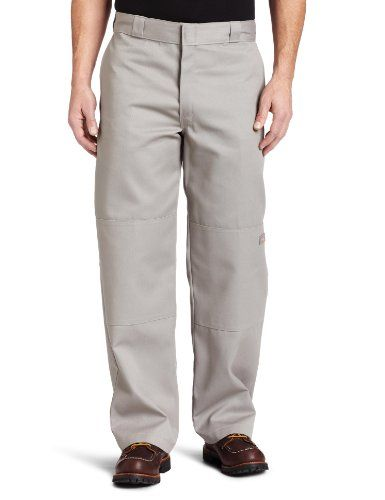 dickies mens loose fit double knee work pant silver gray on cheap insulated coveralls for men id=34560