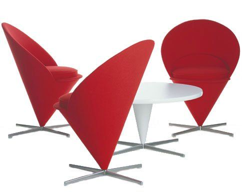 Verner Panton Cone Chairs Around Table, 1958 Shell With Upholstery And Seat  Cushion, Brushed