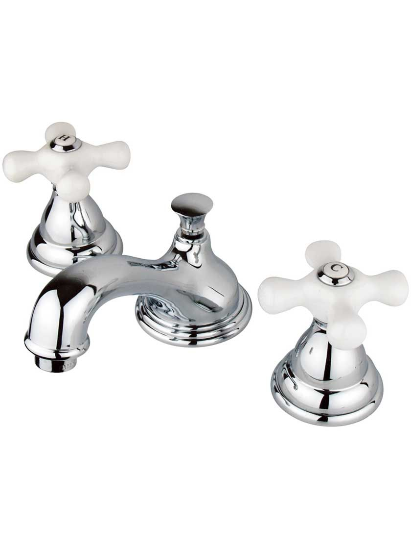 Potomac Widespread Bathroom Faucet With White Porcelain Cross