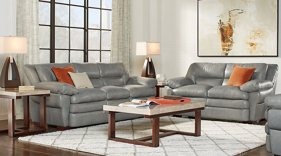 Aventino Gray Leather 3 Pc Living Room From Furniture