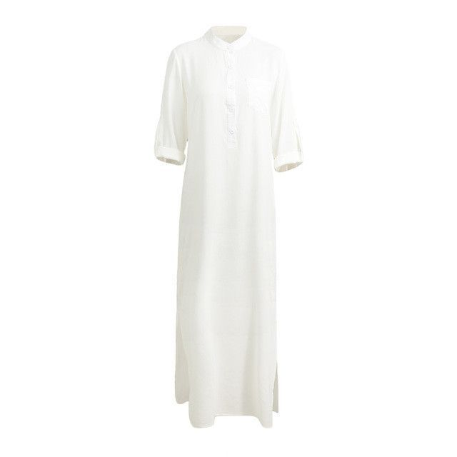 4XL 5XL Long Plus Size Dress Women Retro Maxi Shirt Dress Elegant Ladies Long Sleeve Stand Collar Split Solid Autumn Shirt Dress