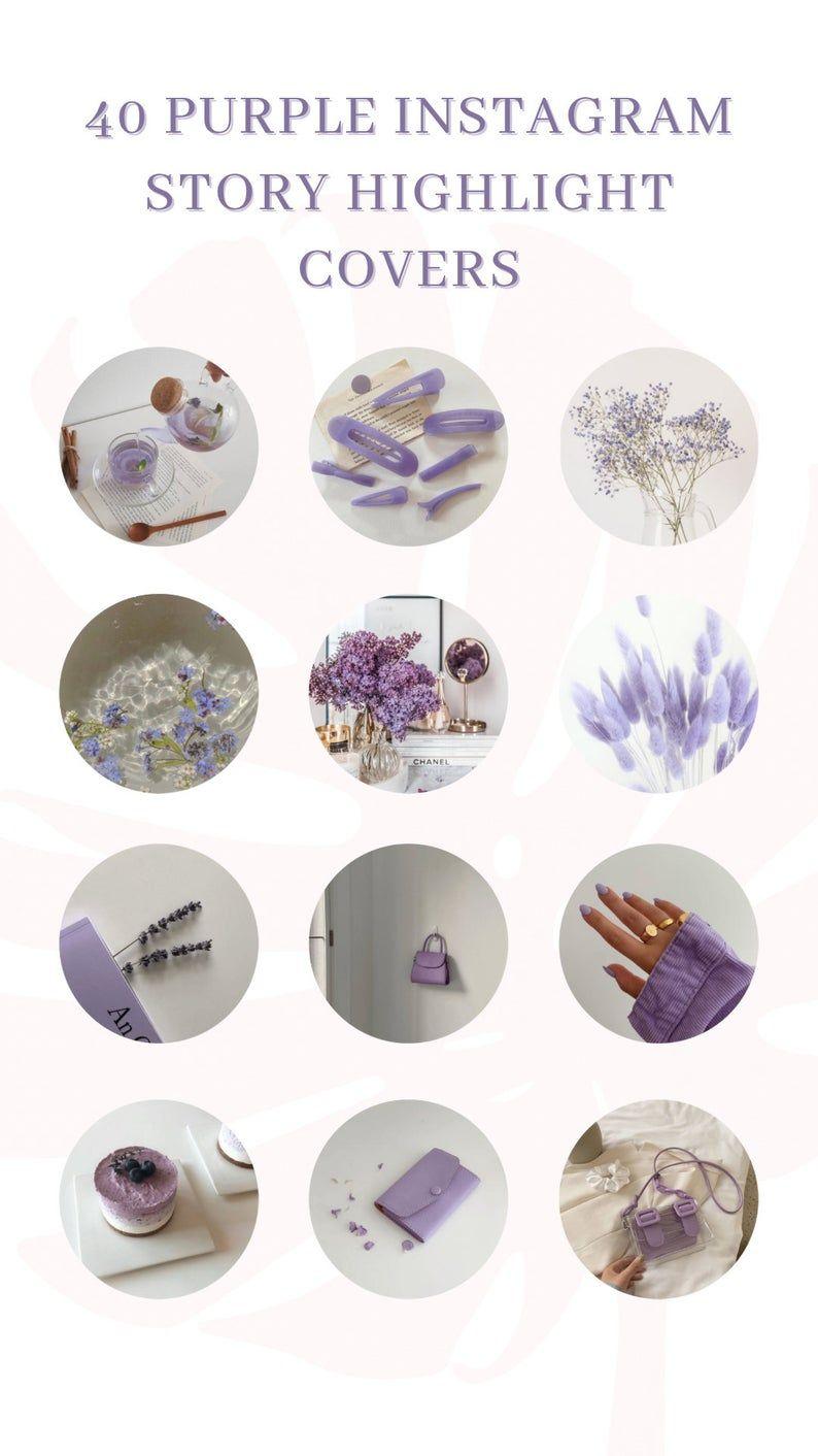 40 Purple Instagram highlight covers / Instagram icons purple calm
