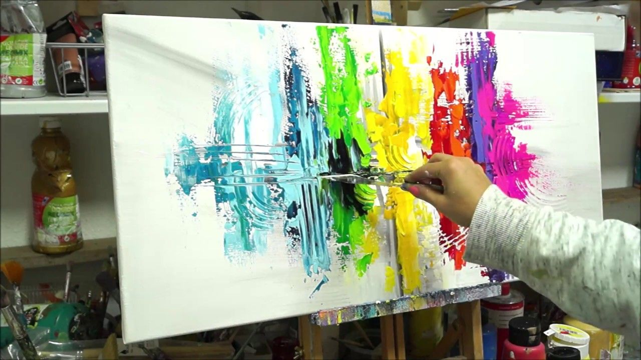 Abstrakte Regenbogen Mit Acrylfarben Malen Chupakhina Larissa