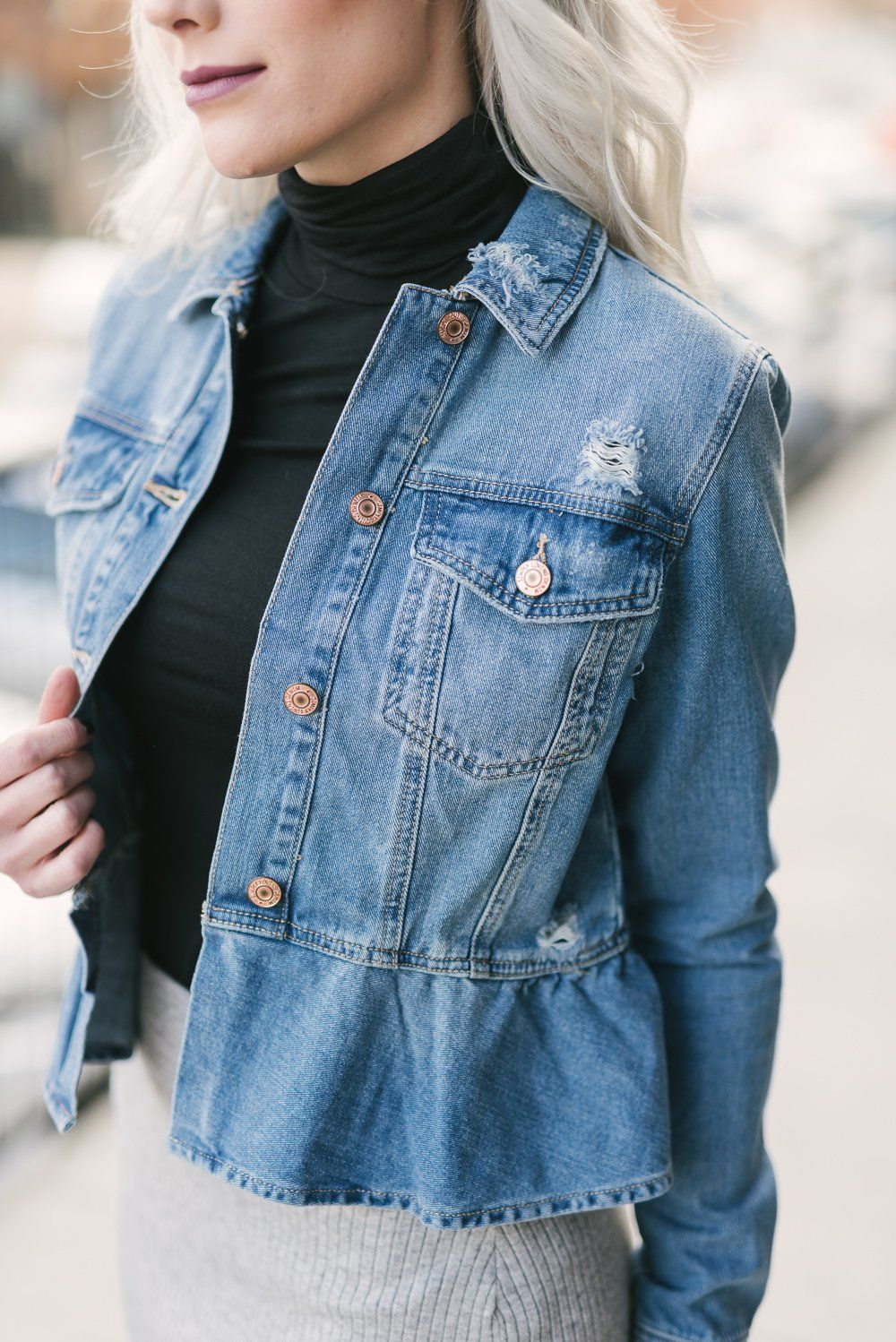 Your Favorite Jean Jacket Just Got A Makeover With A Slight Peplum Style On The Bottom This Jacket Is Un Denim Street Style Denim Inspiration Upcycle Clothes [ 1498 x 1000 Pixel ]