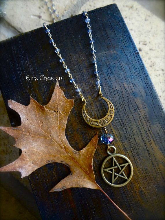 Reversible Necklace Witch Goddess Necklace Witch Necklace Halloween Wiccan Jewelry Crystal Witch Necklace Black Cauldron Necklace