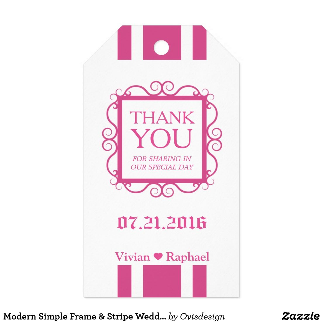 Modern Simple Frame & Stripe Wedding Thank You | wedding favor ...