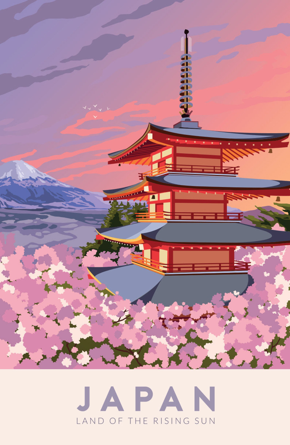Japan Print Travel Poster | Japanese Cherry Blossom Japanese Pagoda Retro Travel Poster Art Tokyo Japan Mt Fuji Travel Art Vacation Art