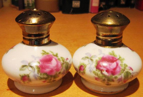 Lefton Hand Painted China and Brass Salt