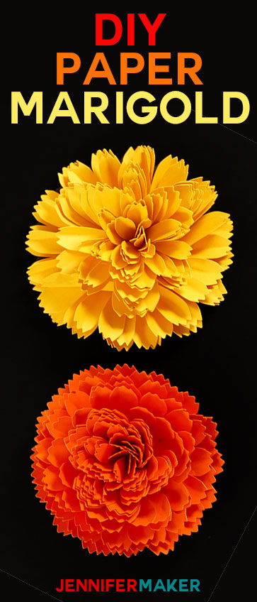DIY Paper Marigold for Autumn and Day of the Dead #paperflowertutorial