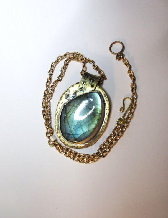 Large Blue /GreenLabradorite set in by HeronsJewelryShop on Etsy, $110.00
