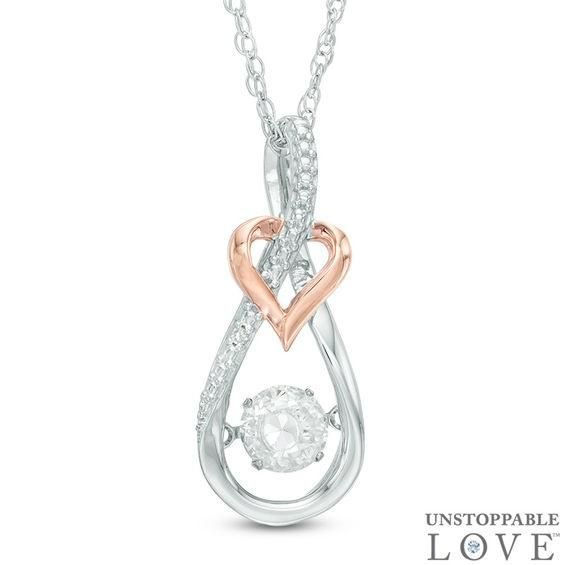 Zales 4.5mm Lab-Created White Sapphire and Diamond Accent Love Heart Pendant in Sterling Silver ZaFcvR