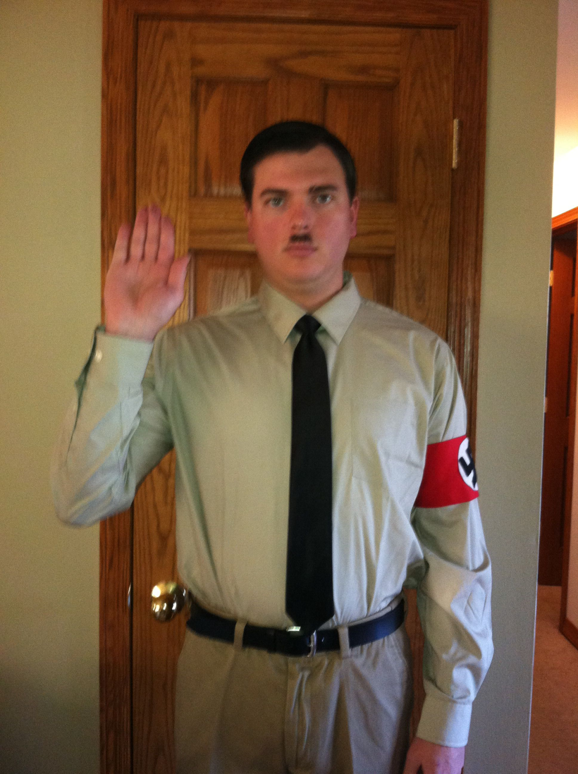 my husbands hitler halloween costume last year. made his armband out