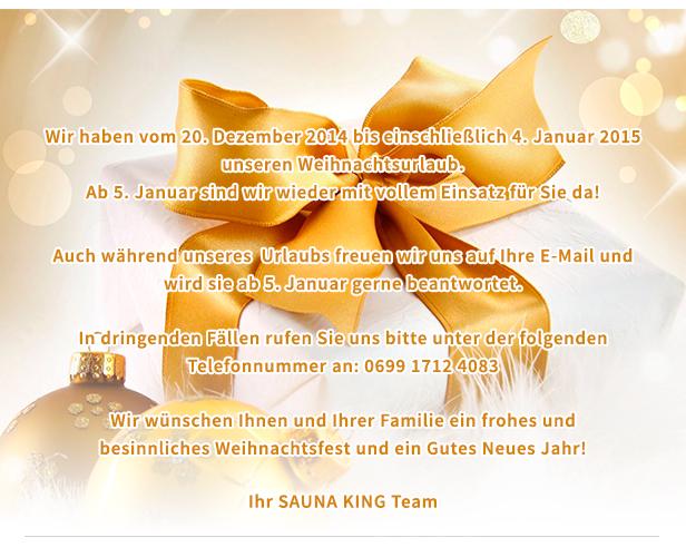 Unsere Öffnungszeiten während Weihnachten und Silvester  http://saunaking.at/newsletter/2014/32/