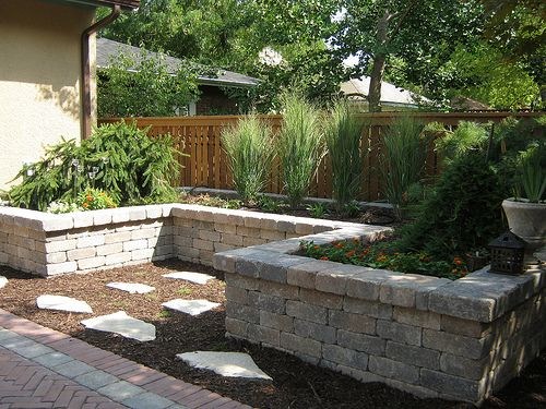 Shape Of Raised Beds Creates Sitting Area Too Patio Garden