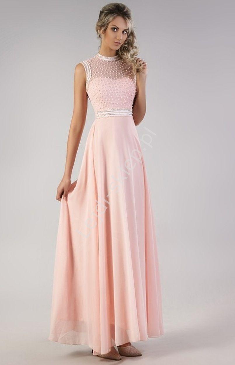 e75bc46393 Pastelowo różowa suknia z perełkami