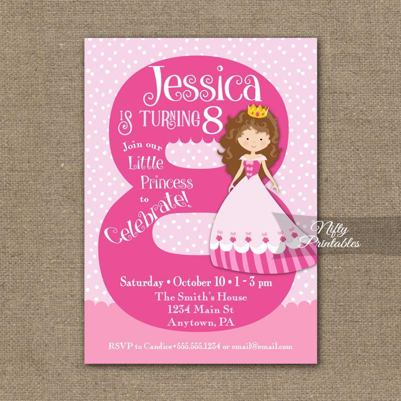 8th Birthday Invitation Pink Princess