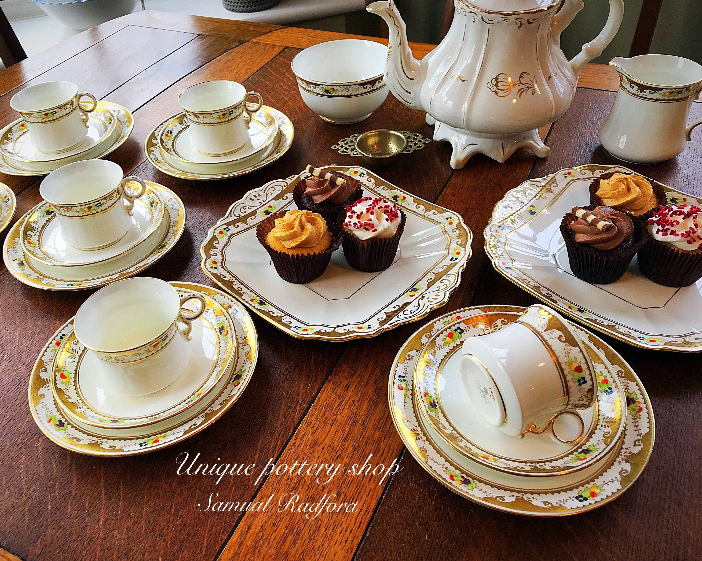 A English Vintage Teaset By Samual Redford Tea Set Unique Pottery Cake Plates