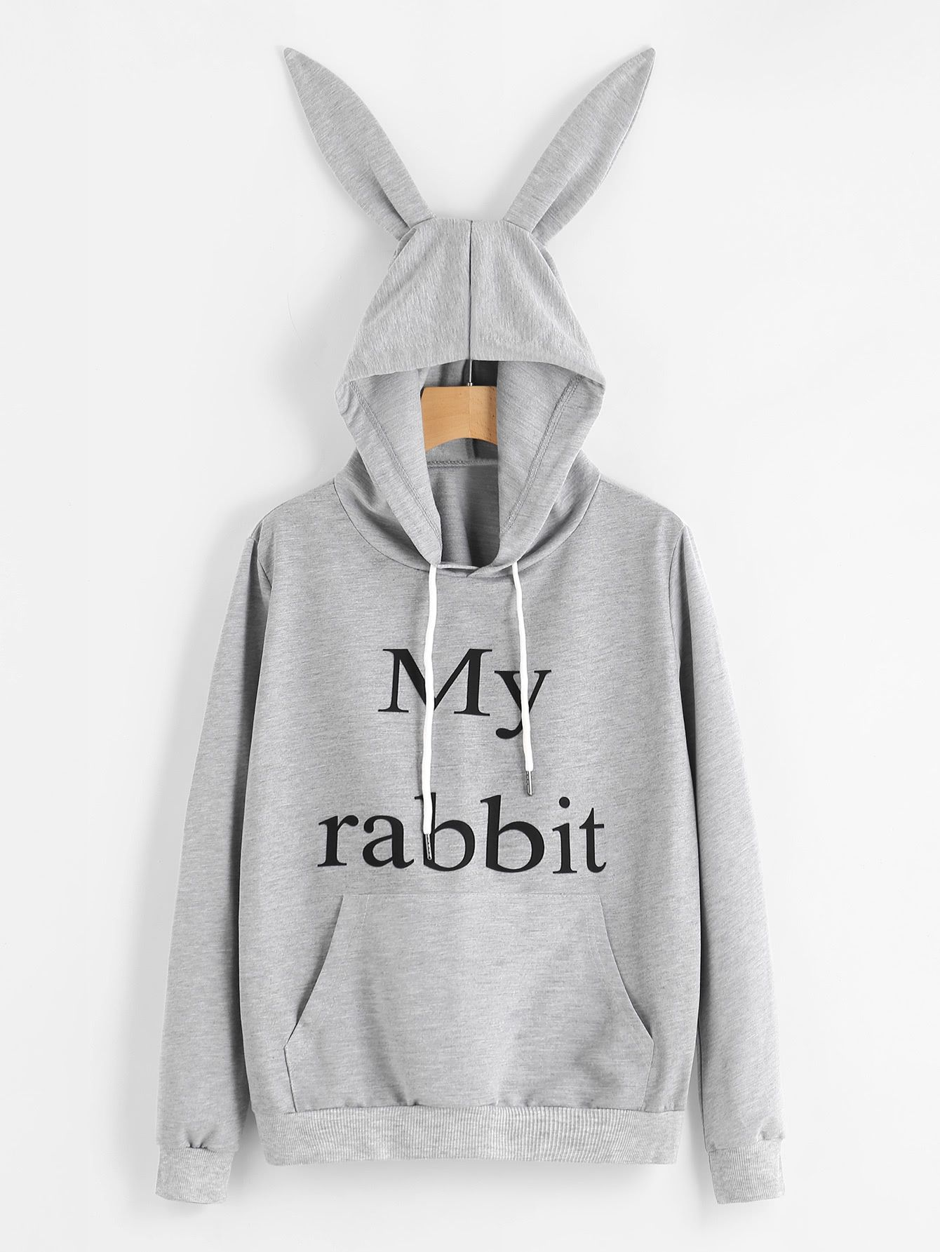c7d1586201877 Shop Slogan Print Rabbit Ear Hooded Sweatshirt online. SheIn offers Slogan  Print Rabbit Ear Hooded Sweatshirt & more to fit your fashionable needs.