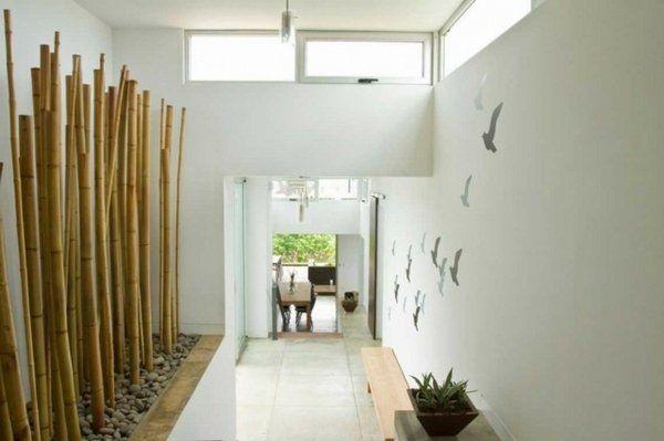 Decorative Bamboo Poles Hallway Decoration Ideas Natural Materials
