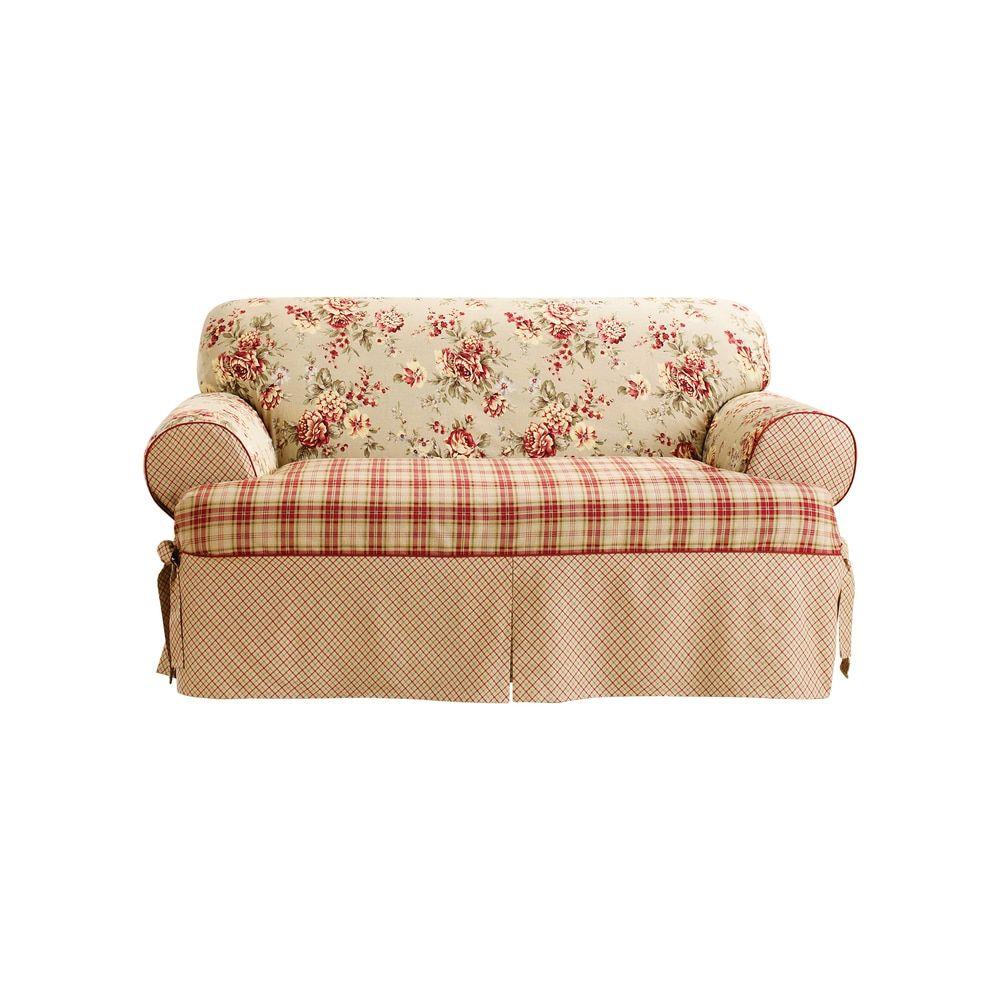Sure Fit Lexington One Piece T Cushion Sofa Slipcover (Multi), Brown  (Floral)