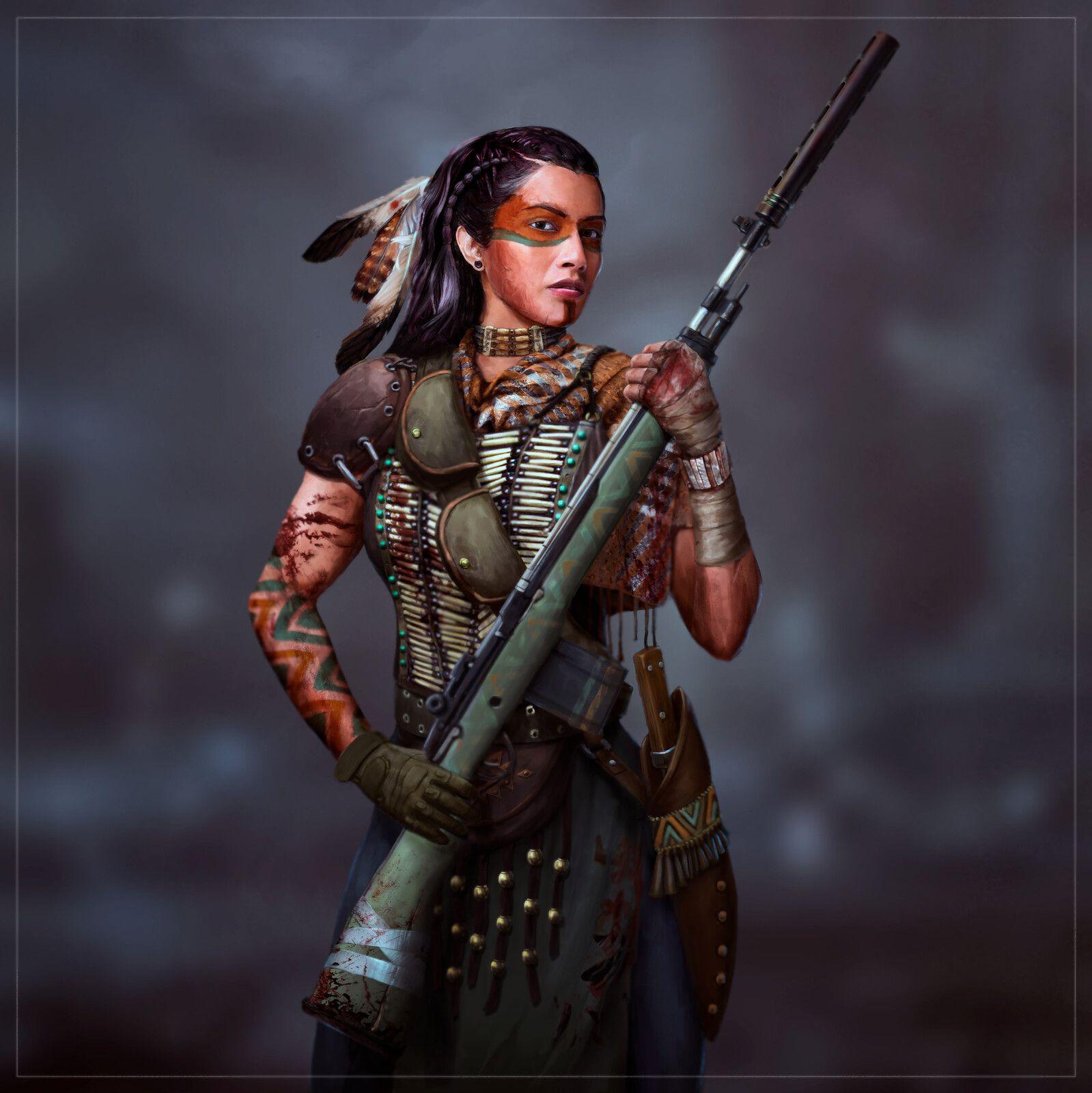 Weak villagers are reduced to slavery. Sniper girl concept (zombie apocalypse), Roman Rogatii on ArtStation at https://www.artstation ...