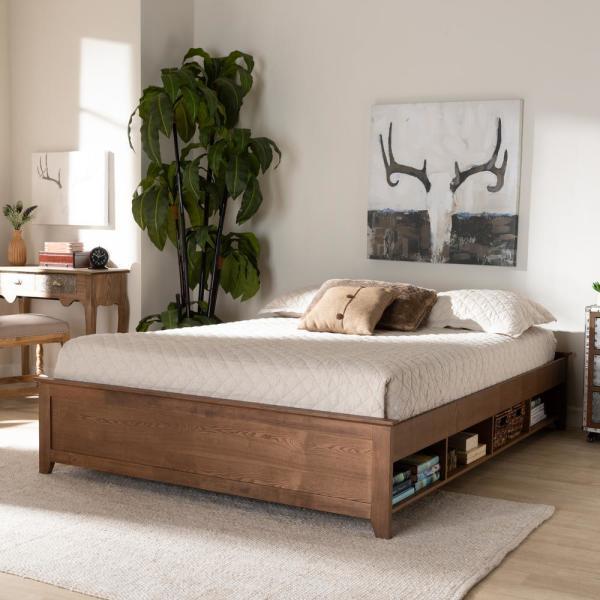 Baxton Studio Anders Ash Walnut Queen Platform Bed Frame 164 10672