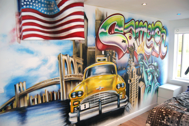 New york graffiti bedroom glasgow by - Painting graffiti on bedroom walls ...