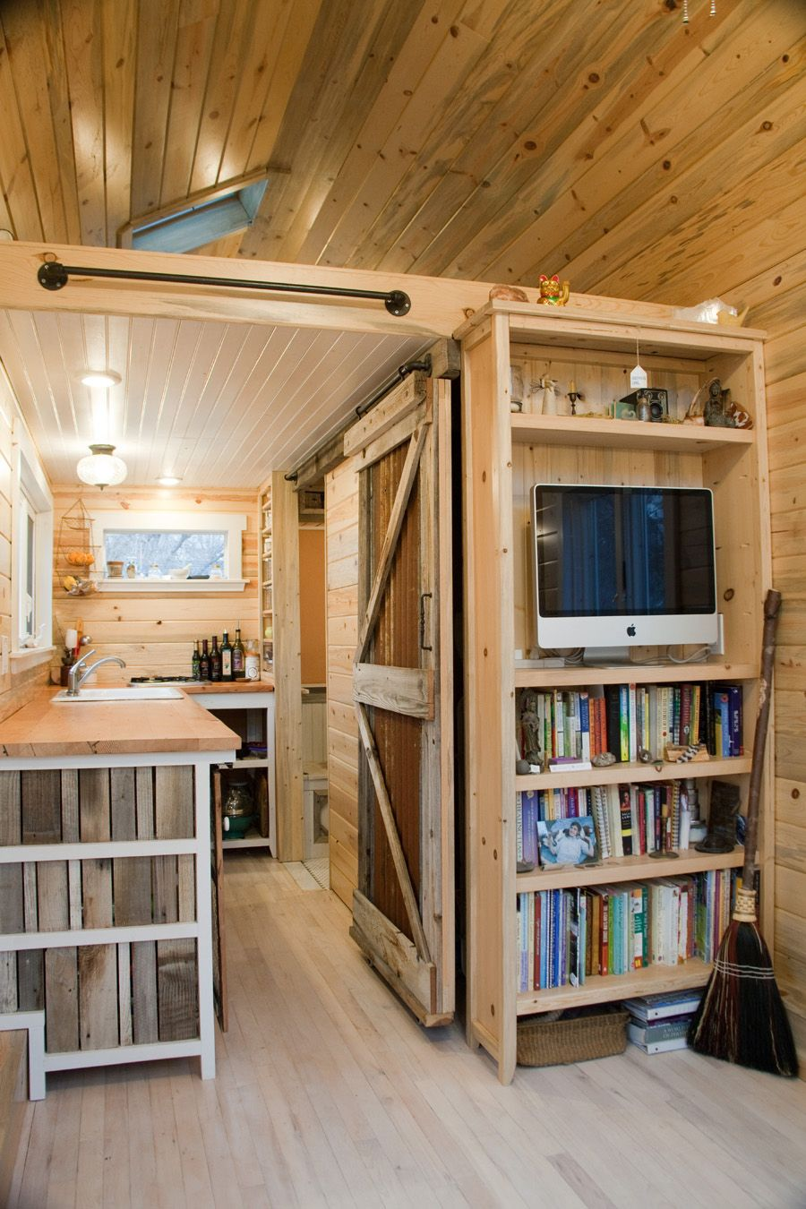 Love The Sliding Door In This Rustic 230 Sq Ft Tiny House On Wheels Reno