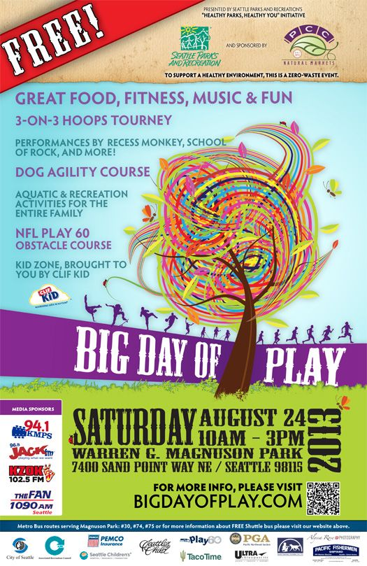 Big Day of Play at Magnuson Park Saturday, August 24th