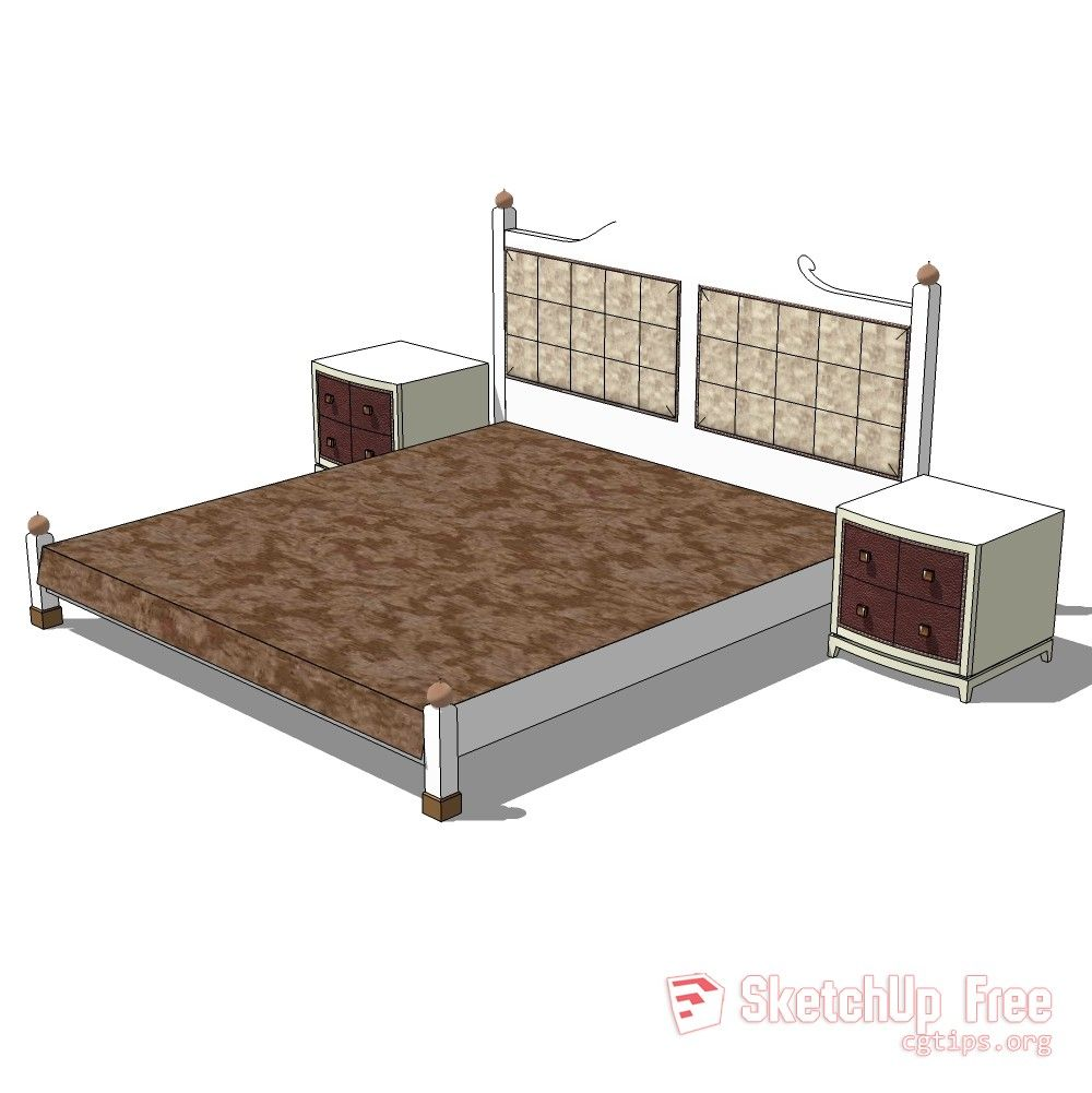1098 Bed - 015 Sketchup Model Free Download