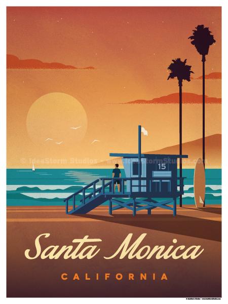 Santa Monica Beach Coast California United States Travel Advertisement Poster
