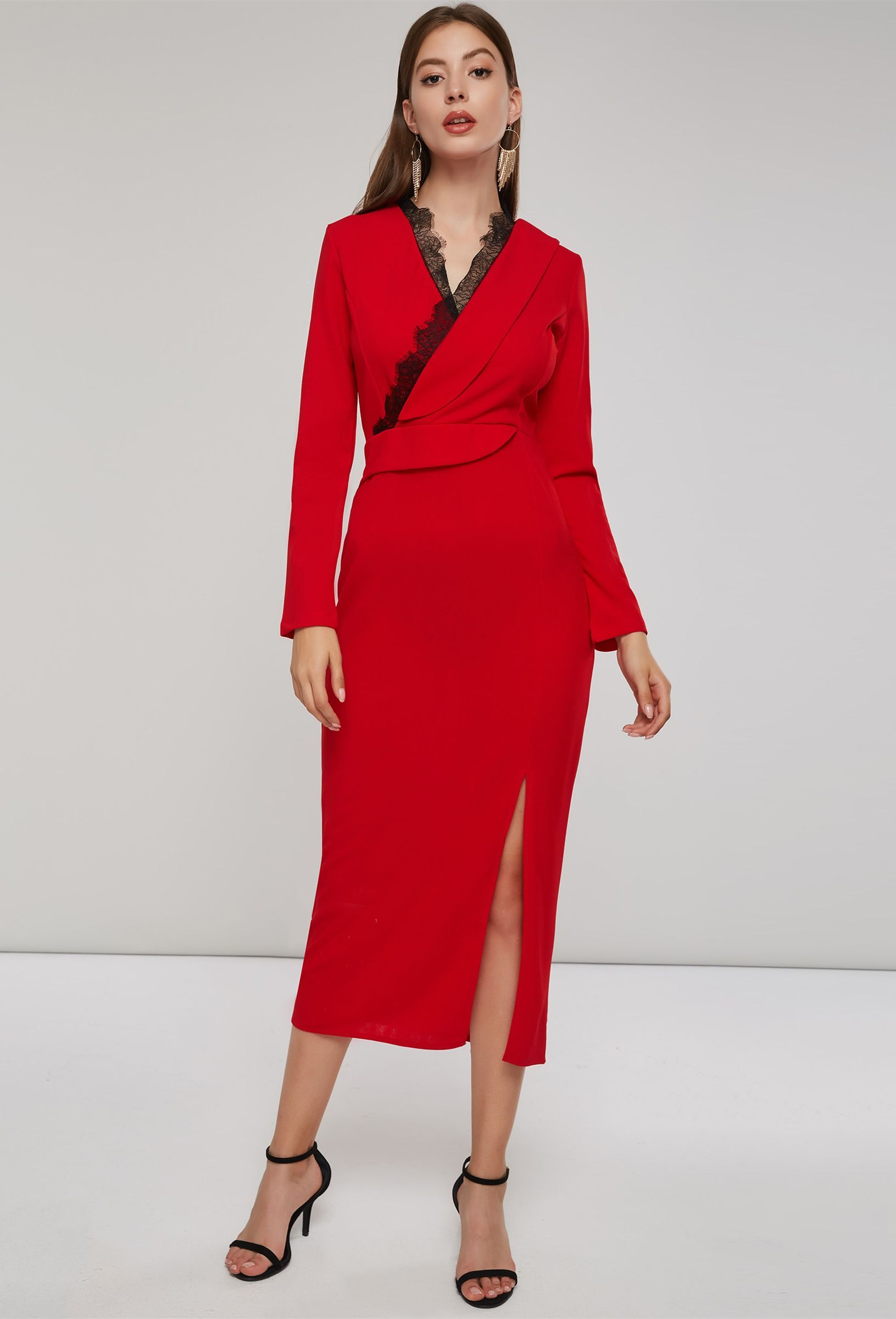 Christmas long sleeve vneck slit womenus maxi dress in all
