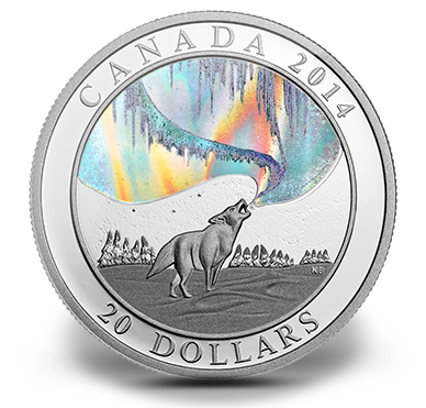 Northern Lights Howling Wolf $20 2014 1OZ Pure Silver Proof Coin Canada