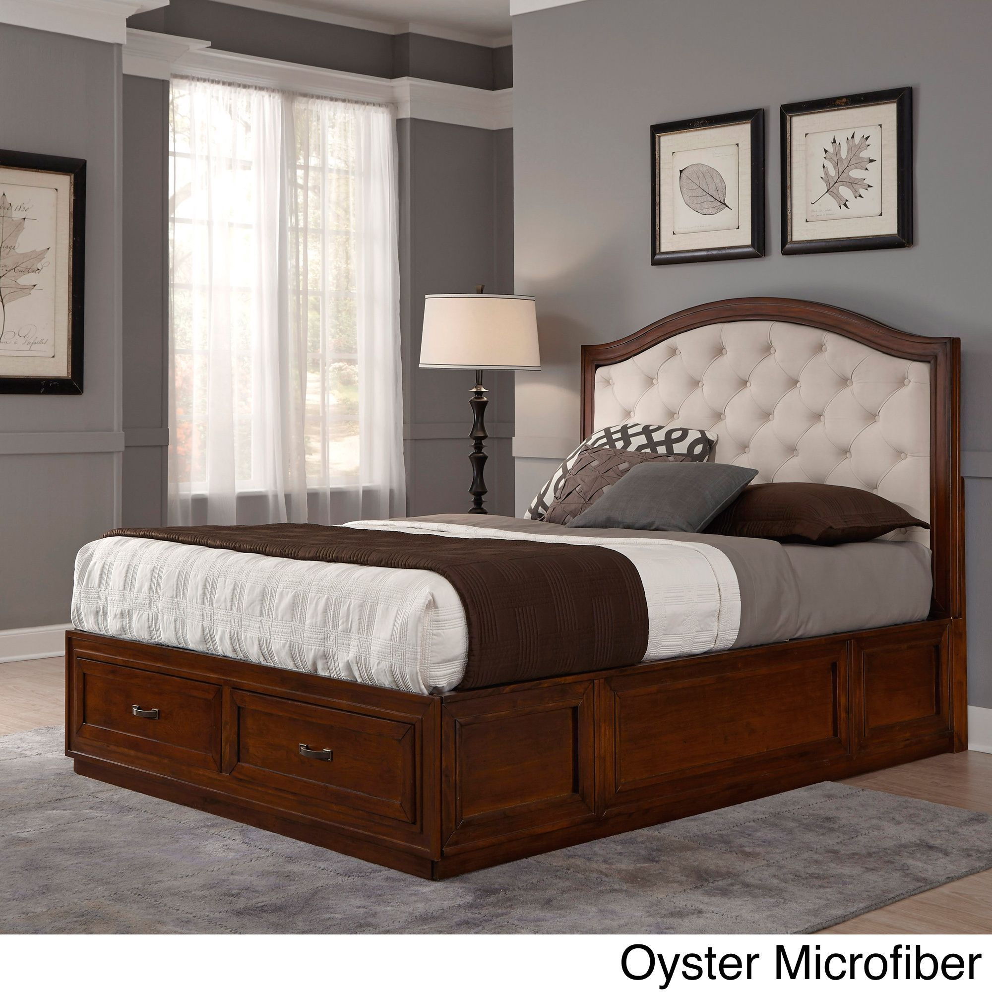 Duet king diamondtufted platform storage bed by home styles brown