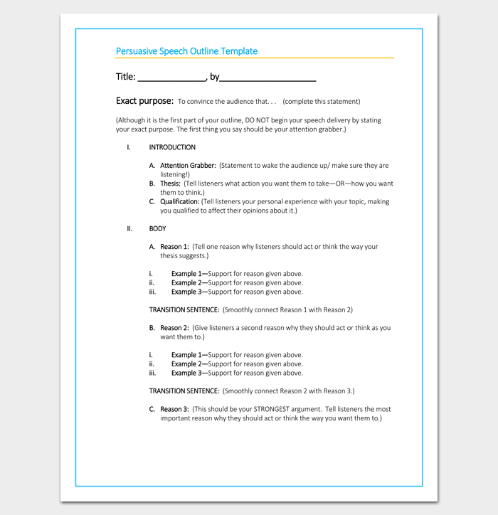 blank persuasive speech outline template | outline templates, Powerpoint templates