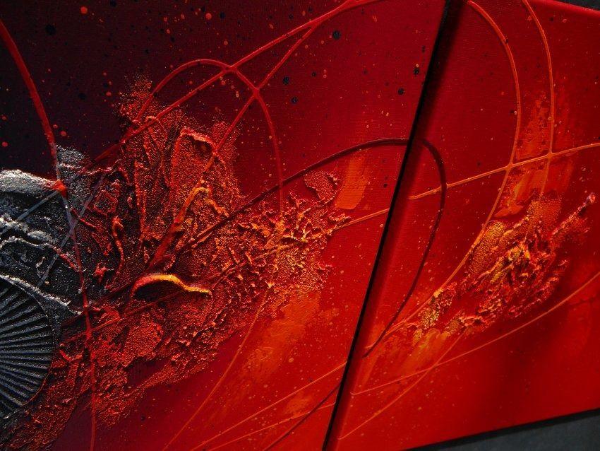 Tableau abstrait diptyque contemporain toile design peinture acrylique en relief noir rouge - Tableaux abstraits design contemporain ...