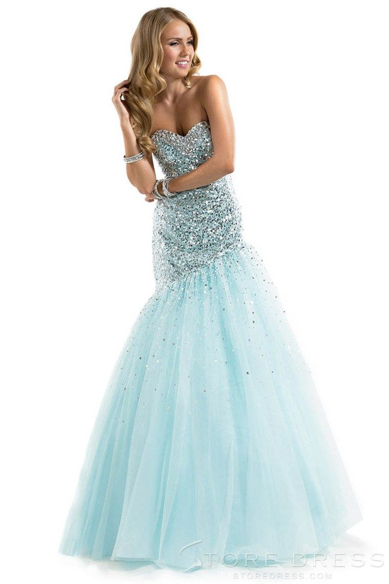 Allure Trumpet Strapless Natural Beading Prom Dress 2014 New Style ...