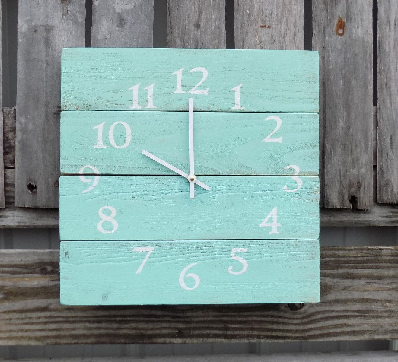 This Rustic Beach Themed Wall Clock Is Made Of Pallet Like Wood