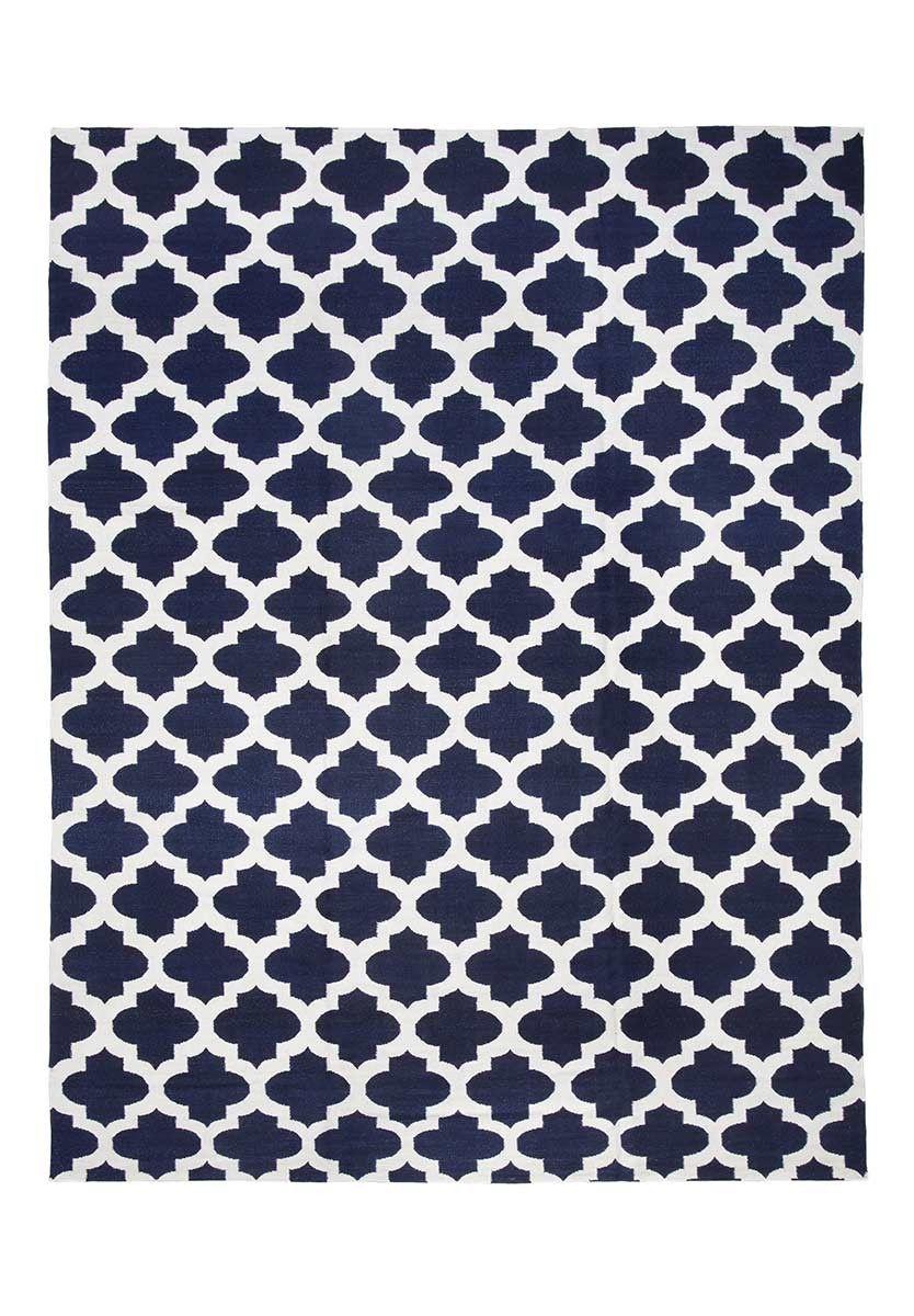 Tapete Kilim Jaly Dark Blue White By Kamy Store Bykamy Com  -> Tapetes Para Sala Loja Seller