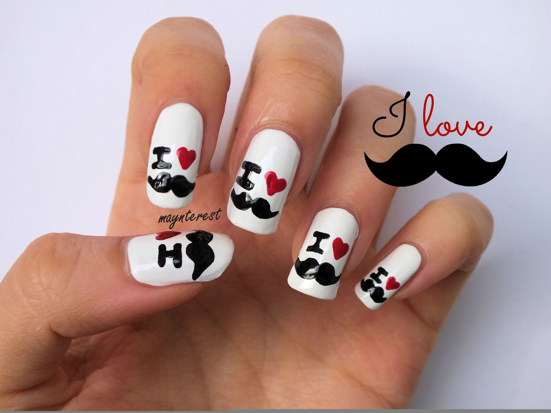 Diseño de uñas I love bigote | I love moustache nail art | uñas ...